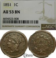 1851 1C BRAIDED HAIR LARGE CENT NGC AU53 BN  OLD TYPE COIN BIG PENNY