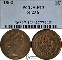1802 1C DRAPED BUST LARGE CENT PCGS F12 S-236  OLD TYPE COIN MONEY