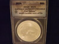 2014   $1  SALT WATER CROCODILE      FIRST RELEASE        ANACS  MS 70