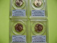 2008 P&D VAN BUREN PCGS MINT STATE 66 FDOI CIRCULATION STRIKE POSITION A&B 4-COIN DOLLAR SET