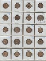 20CANADA SILVER TWENTY FIVE CENTS 1941 TO 1959 ALL DIFFERENT