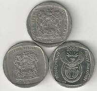3 DIFFERENT 1 RAND COINS FROM SOUTH AFRICA   1992 1997 & 2008  3 TYPES