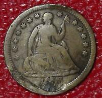 OLD U.S. COIN   1856 PLUGGED SEATED LIBERTY SILVER HALF DIME C145