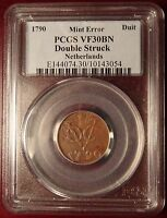 1790 NETHERLANDS DUIT MINT ERROR DOUBLE STRUCK PCGS VF30BN