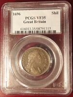 1696 GREAT BRITAIN SILVER SHILLING PCGS VF35