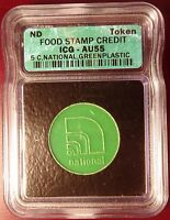 FOOD STAMP CREDIT TOKEN 5 C NATIONAL GREEN PLASTIC ICG AU55