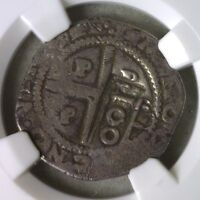 1642  PORTUGAL SILVER 100 REIS COUNTERMARKED ON 80R NGC F12