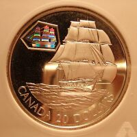 2001 CANADA SILVER $20 PROOF SHIP HOLOGRAM ANACS PF68