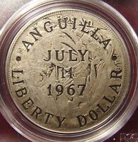 1967 ANGUILLA SILVER LIBERTY DOLLAR COUNTERSTAMPED ON 1923 PERU SOL PCGS F12