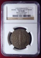 FRANCE OCCUPATION 1793 5 SOLS SIGE DE MAYENCE SIEGE GERMAN STATES NGC VF 35