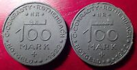 LOT OF 2  1922 100 MARK C. CONRADTY ROTHENBACH GERMAN NOTGELD MADE OF COAL