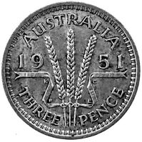 1951 THREE PENCE AUSTRALIA SILVER ACTUAL PHOTOS SHOWN LOT NW5137