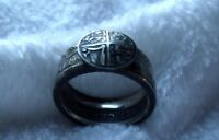 COIN RING ENGLISH SILVER 1928 1936  HALF CROWN RING LION SHIELD SIZE 11