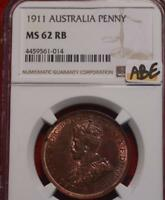 1911 AUSTRALIA 1 PENNY FOREIGN COIN NGC GRADED MS 62 RB