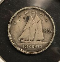 1938 CANADA 10 CENT SILVER DIME. COLLECTOR COIN FOR YOUR COLLECTION OR SET.