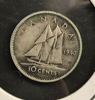 1940 CANADA 10 CENT SILVER DIME. COLLECTOR COIN FOR YOUR COLLECTION OR SET.