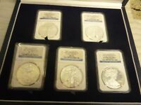 2011  SILVER EAGLE  5 COIN 25TH ANNNIVERSARY SET   NGC MS70 / PF70