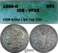 1888-O MORGAN DOLLAR ICG VF25  COINS VAM-4, HOT LIPS DOUBLED DIE OBVERSE DDO