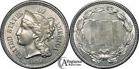 1873 THREE CENT NICKEL MS BU UNCIRCULATED  OLD TYPE COIN OPEN 3 VARIETY