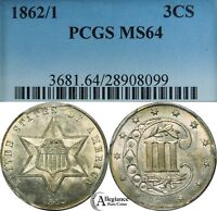 1862/1 THREE-CENT SILVER PIECE PCGS MINT STATE 64  OLD TYPE COIN 3CS 3 CENTS OVERDATE
