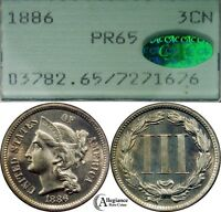 1886 THREE CENT NICKEL PCGS & CAC PCGS PR65  OLD PROOF COIN CHOICE GEM COIN