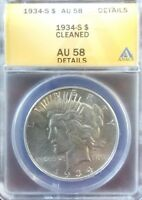 1934 S PEACE DOLLAR ANACS CERTIFIED AU 58  KEY DATE IN THE SERIES