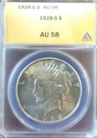 1928-S SILVER PEACE DOLLAR $1 ANACS AU-58  BETTER COIN