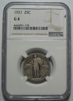 1921 NGC G4 STANDING QUARTER,  COLOR, KEY DATE, SHIPS FREE