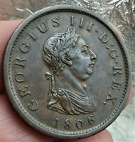 1806 GEORGE III  LARGE  PENNY COIN  212 YEARS OLD NOW EXCELL