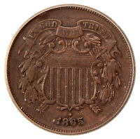 1865 2C ICG VF-20 RPD FS-1301  NEAT 2 CENT COPPER REPUNCHED DATE VARIETY