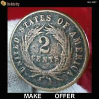 1865  2 CENTS PENNY  COOL COIN