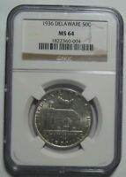 1936 NGC MINT STATE 64 DELAWARE COMMEMORATIVE HALF, SHIPS FREE