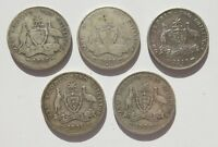 GROUP OF AUSTRALIAN 1915 33 KGV STERLING SILVER ONE FLORIN C