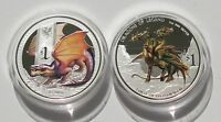 2X PERTH MINT 2013 14 TUVALU MYTHICAL CREATURES DRAGON $1 SI