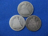 LOT OF 3 SEATED LIBERTY DIME 10 CENT COINS 1876 1876 CC 1877
