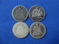 LOT OF 4 SEATED LIBERTY DIME 10 CENT COINS 1849 HOLED 1857 1886 1890
