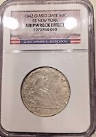 SS NEW YORK  SSNY 1842 O SEATED LIBERTY HALF DOLLAR NGC SHIPWRECK EFFECT COIN