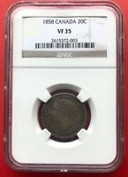 1858 20 CENTS CANADA SILVER TWENTY CENTS COIN   NGC VF 35   FIRST YEAR @