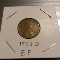 1953 D WHEAT CENT EXTRA FINE