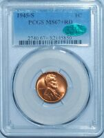 1945 S PCGS MINT STATE 67RD CAC RED LINCOLN CENT TIED FOR FINEST REGISTRY