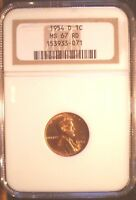 1954 D 1C RD LINCOLN CENT, NGC MINT STATE 67 RD, SHARP STRIKE, LUSTROUS, TOP POP