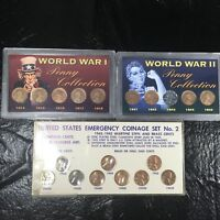WORLD WAR I 1914-18 & II 1941-45 WHEAT CENT AND COINAGE SET - 19 TOTAL COINS