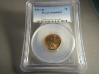 1951-D LINCOLN WHEAT CENT PCGS MINT STATE 64 RD  634/635