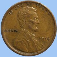 1916 P LINCOLN CENT, TOUGH EARLY DATE, ORIGINAL BROWN COLOR, PROBLEM FREE, BANG