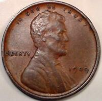 BETTER DATE 1909 P LINCOLN HEAD PENNY ONE WHEAT CENT AU 5017
