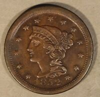 1852 LARGE CENT BRAIDED HAIR  HIGH GRADE SPOT   FREE U.S. SHIPPING