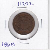 KAPPYSWHOLESALE  ID11292  1868  TWO CENT PIECE GOOD TO VG  GOOD