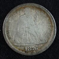 1876 CC SEATED LIBERTY SILVER DIME  CIRCULATED  HOLE FILLER