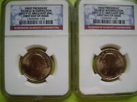 2007 WASHINGTON P&D NGC BRILLIANT UNCIRCULATED FIRST DAY ISSUE 2-COIN DOLLAR SET
