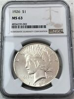 1926 PEACE SILVER DOLLAR NGC MINT STATE 63